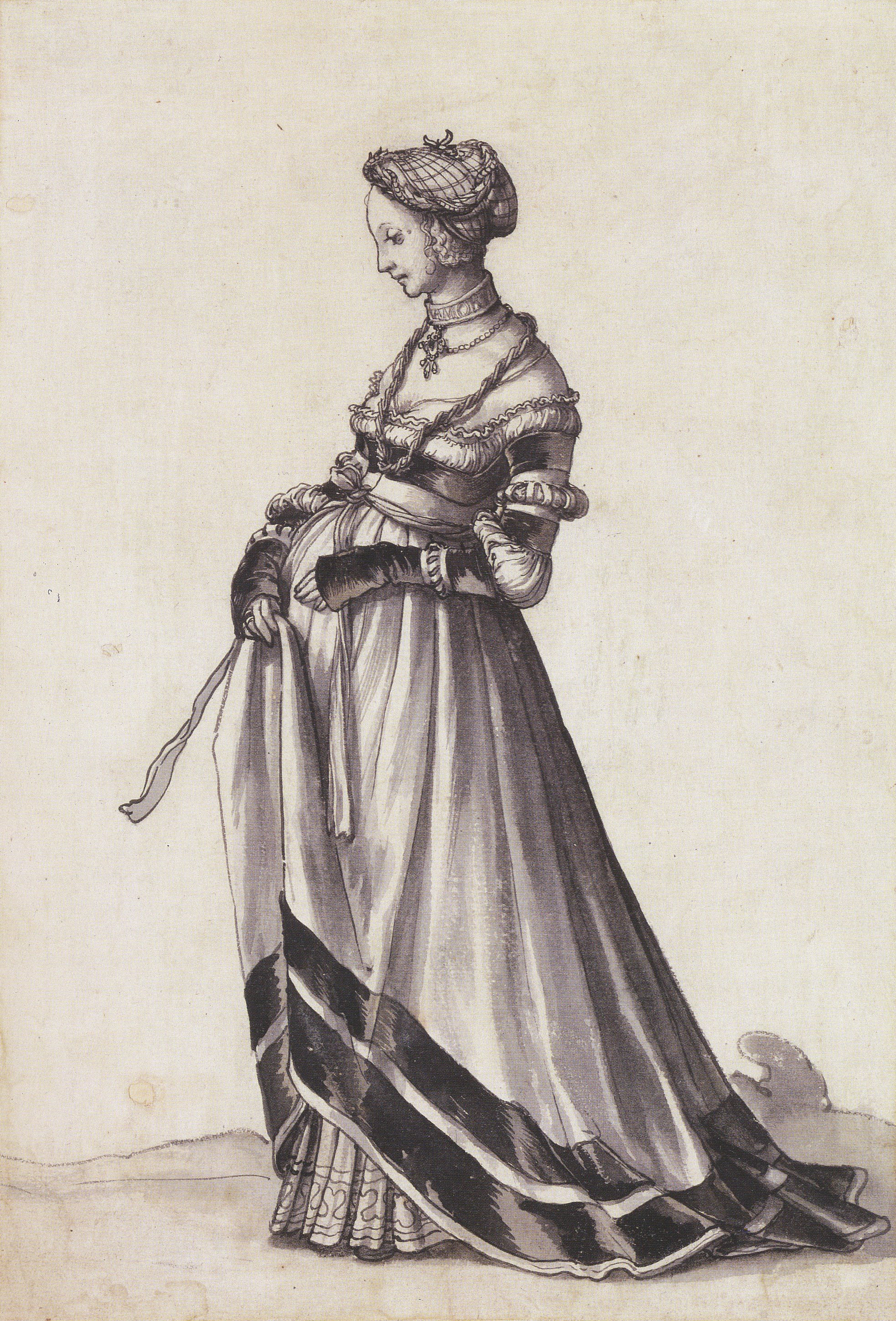Basel Woman Walking towards the Left, Costume Study. c.1523