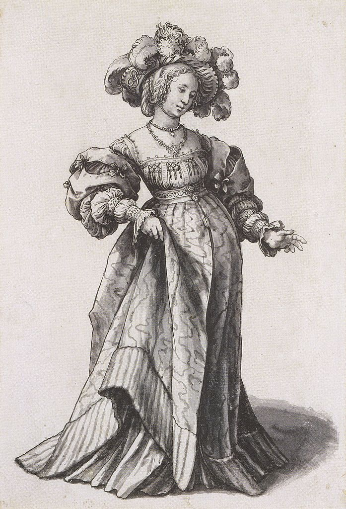 Basel Woman with Ostrich Feather Hat, Costume Study. c.1523