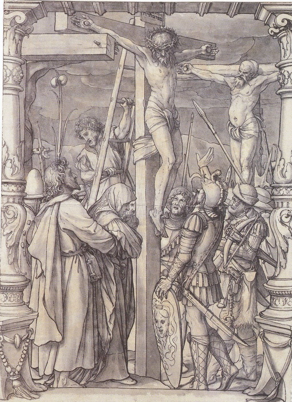 Christ on the Cross. Design for stained glass window. c.1525-28