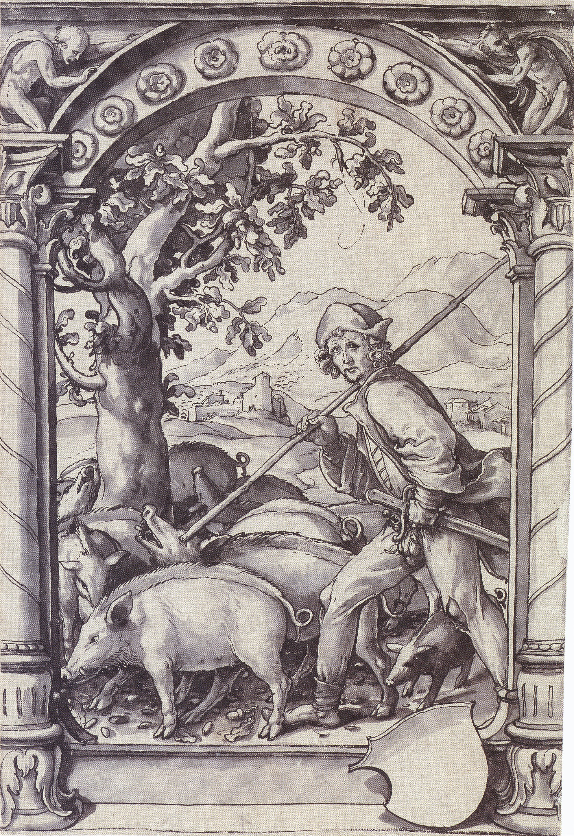 Design for a Stained Glass Window with a Swineherd. c.1518-19