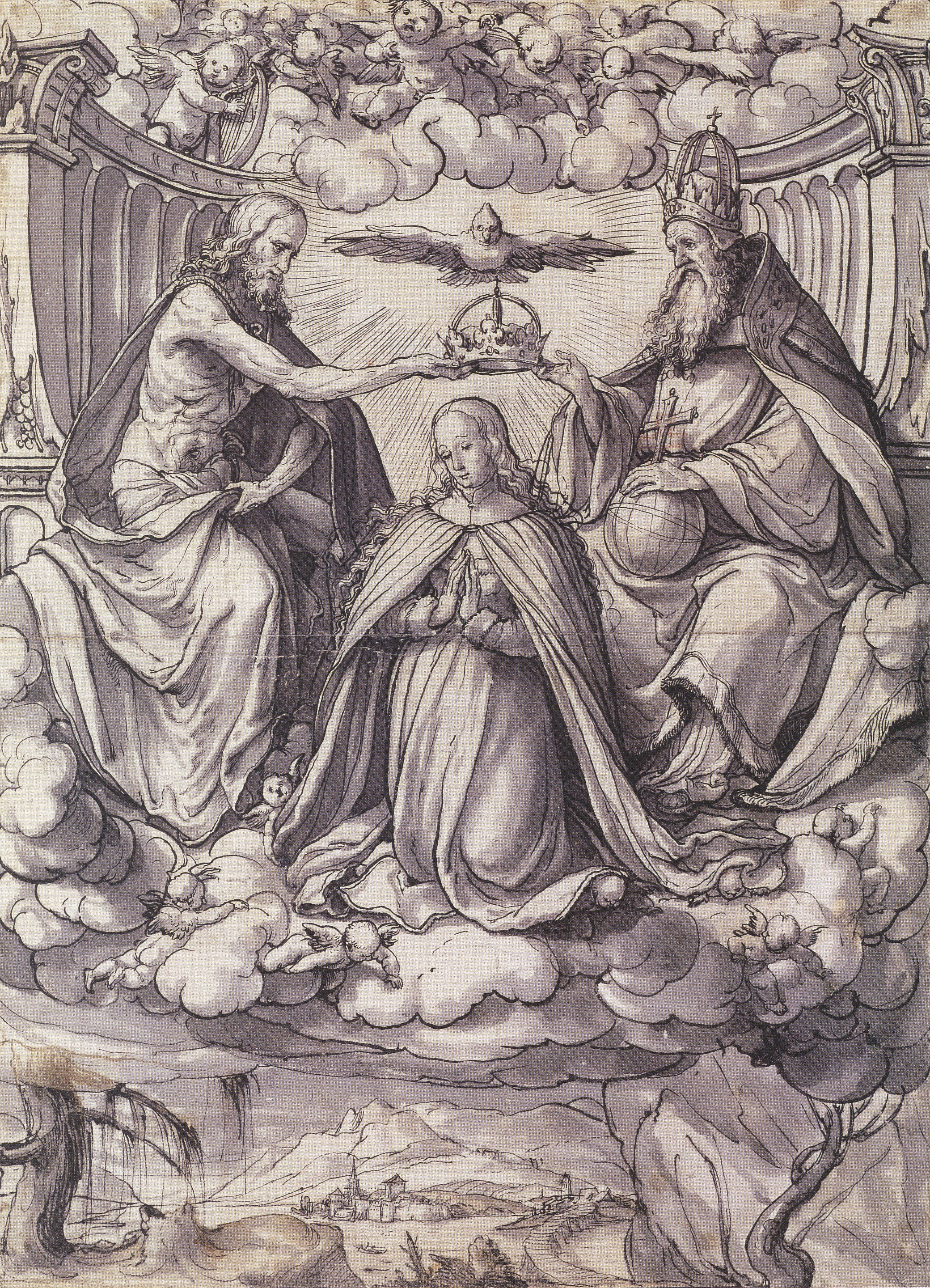 Design for a Stained Glass Window with the Coronation of the Virgin. c.1518