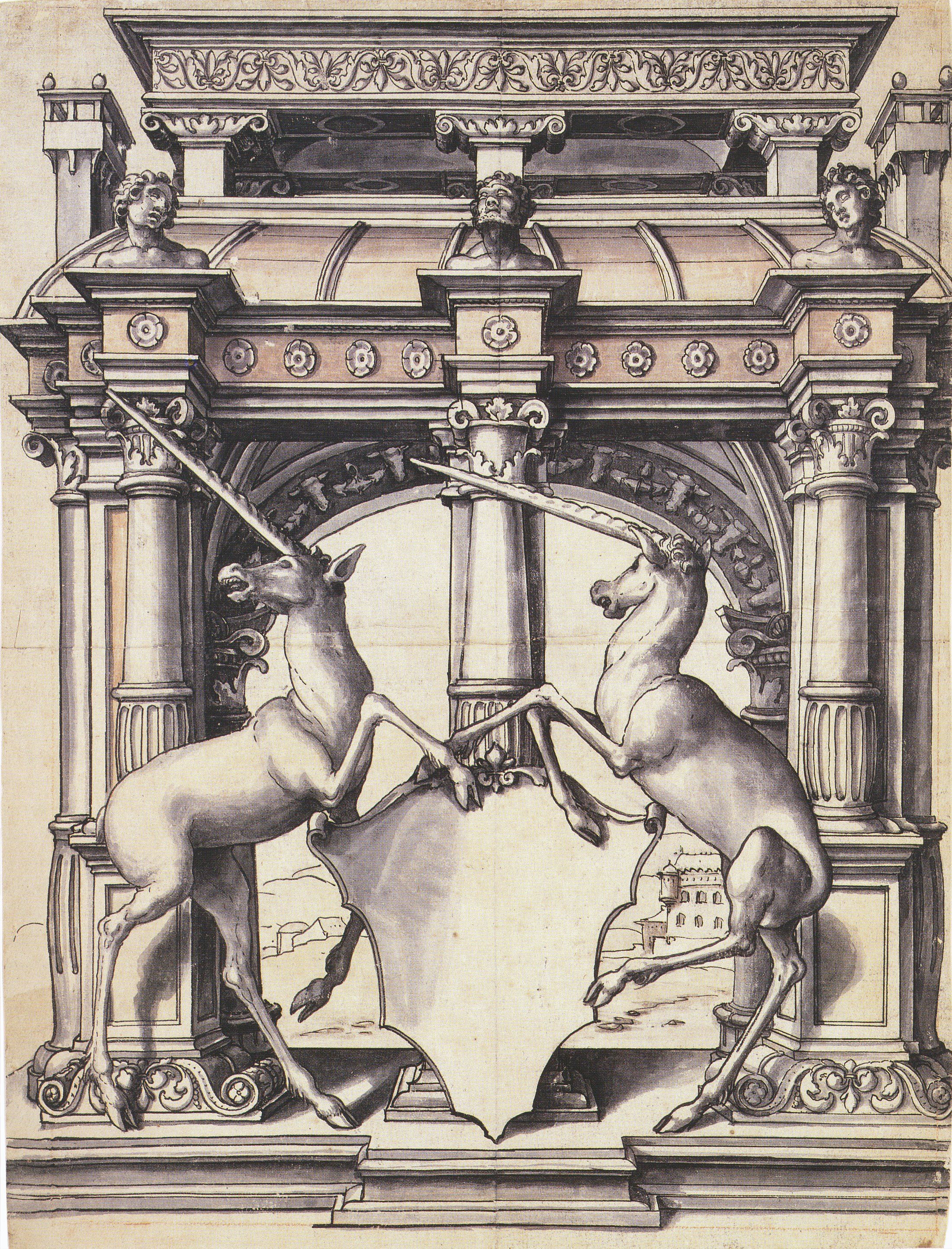 Design for a Stained Glass Window with Two Unicorns. c.1522-23