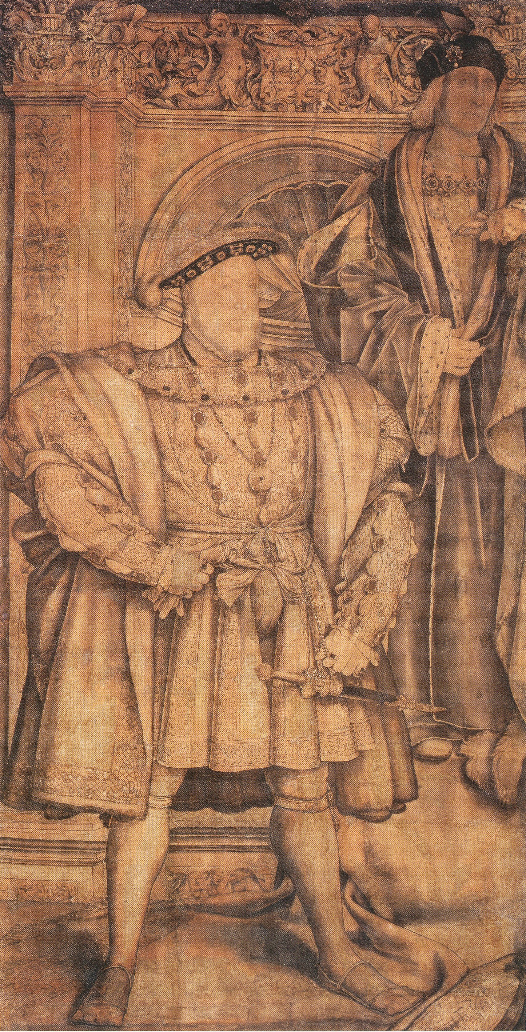 Henry VIII and Henry VII, cartoon for wall painting in Whitehall, 1537