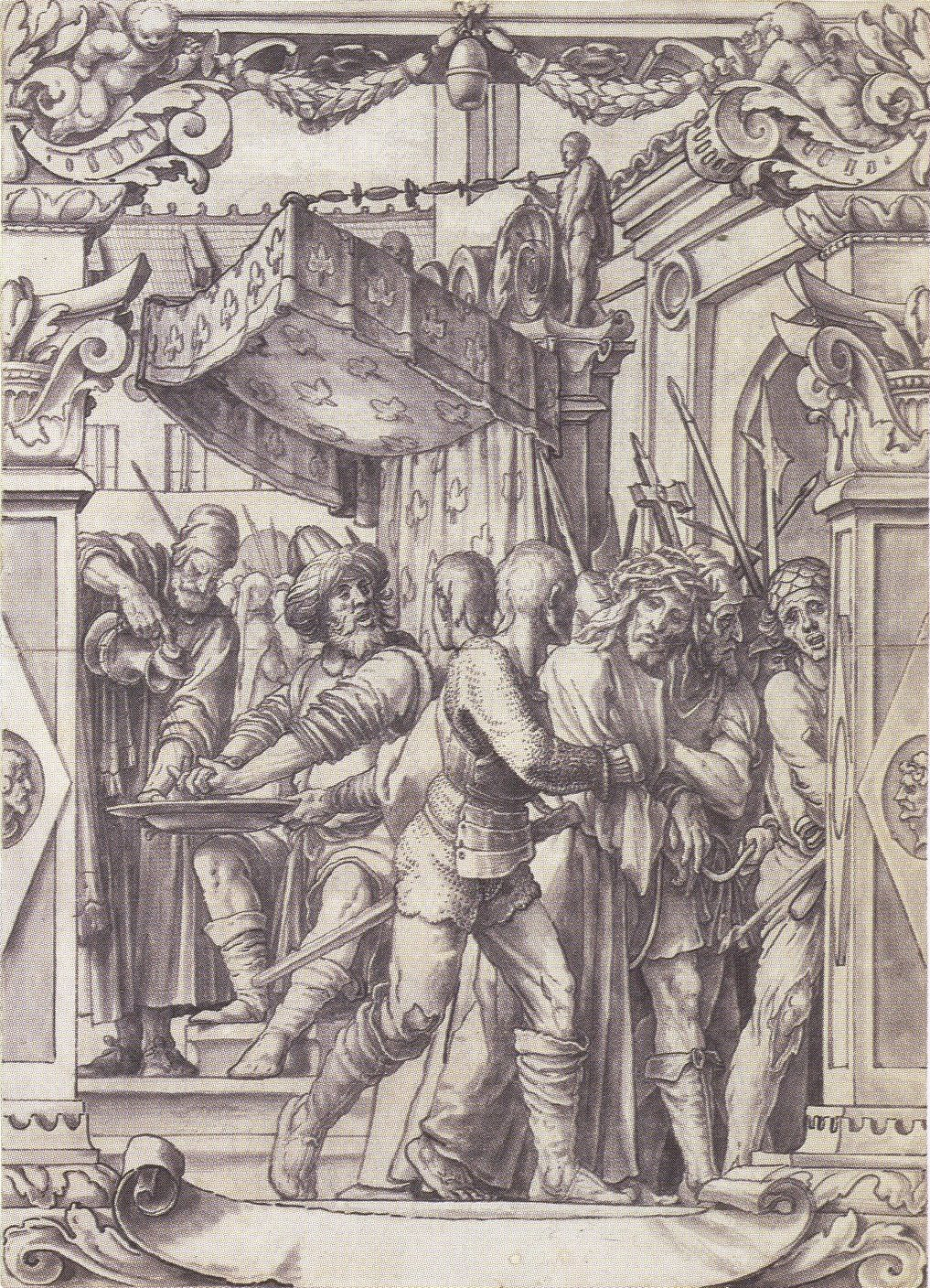 Pilate Washing his Hands, design for a stained glass window. c.1528