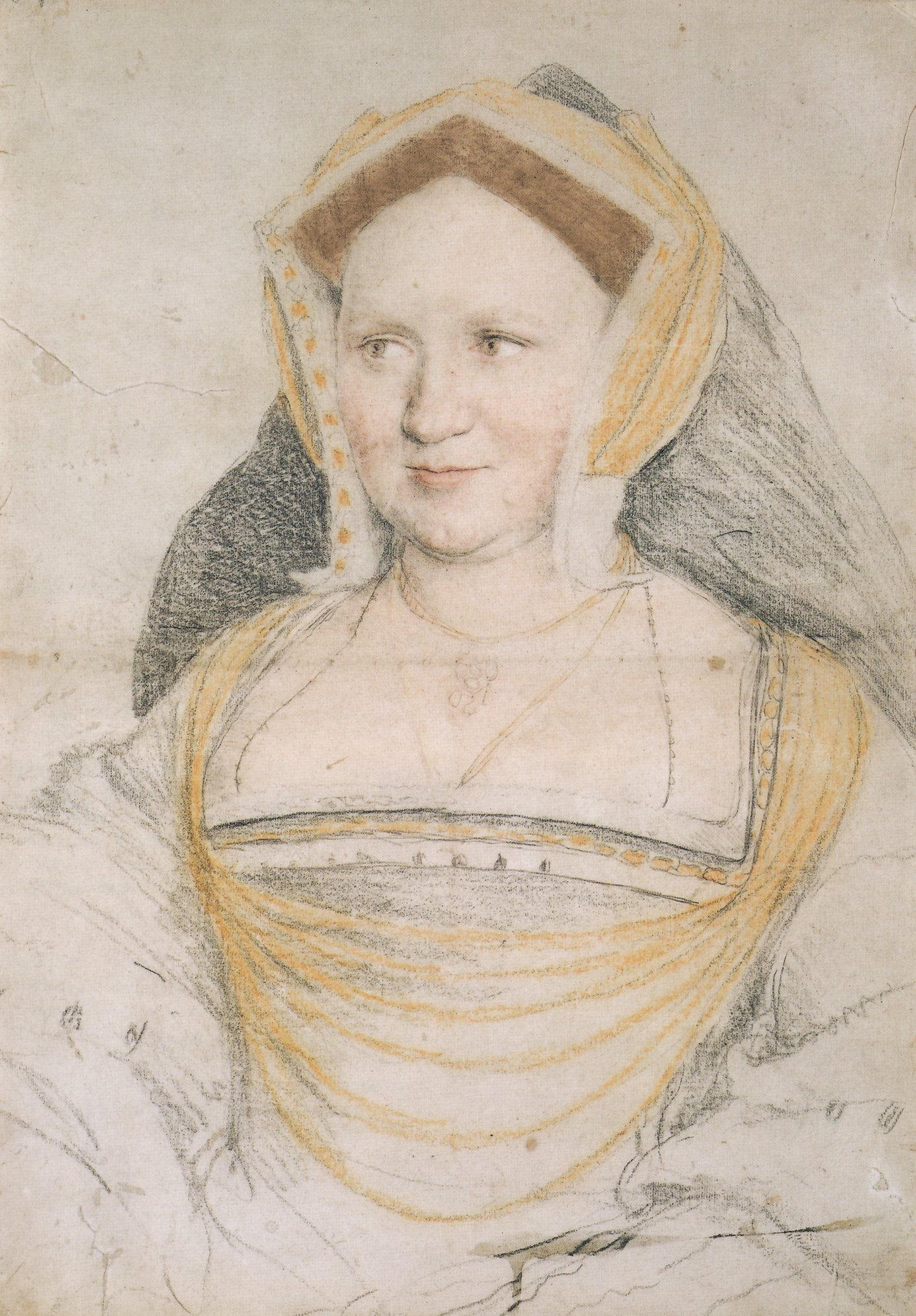 Portrait study of Mary, Lady Guildford, nee Wotton. 1527