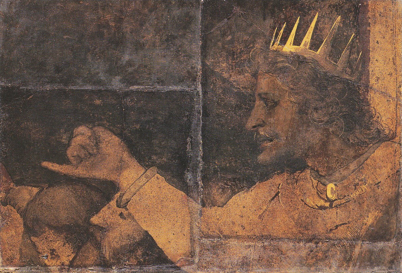 Rehoboam. Fragment of the wall painting in the Great Council Chamber of Basel Town Hall. 1530
