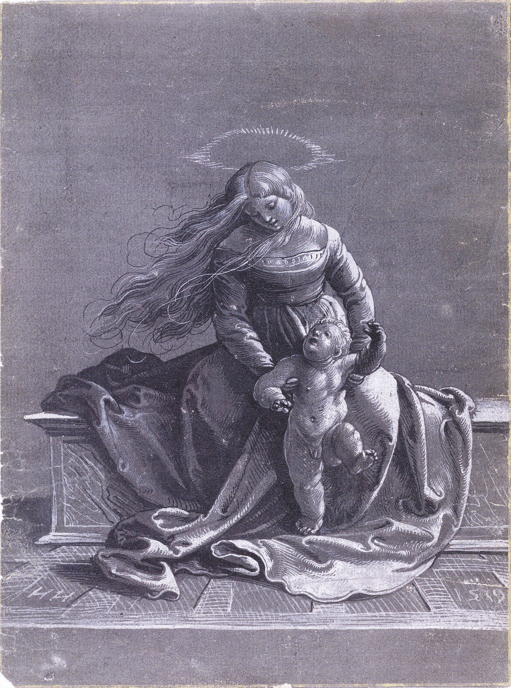 Seated Virgin and Child, chiaroscuro drawing. 1519