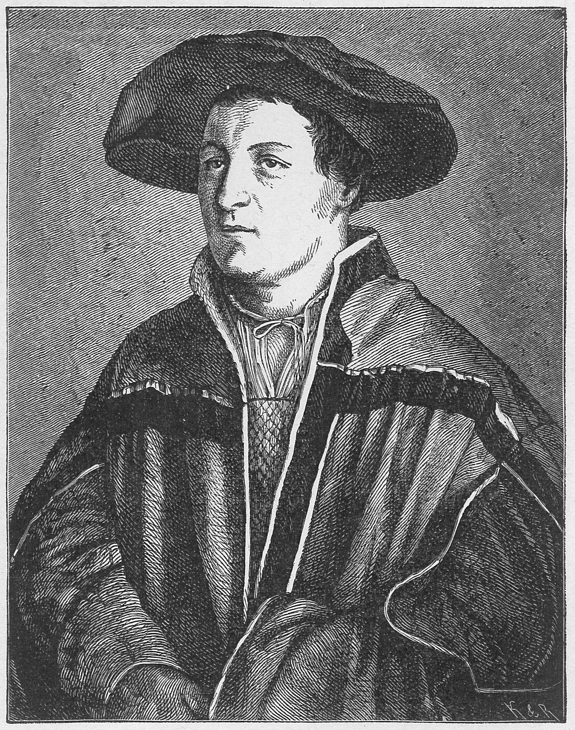 Self Portrait of Hans Holbein the Younger, drawing around 1520