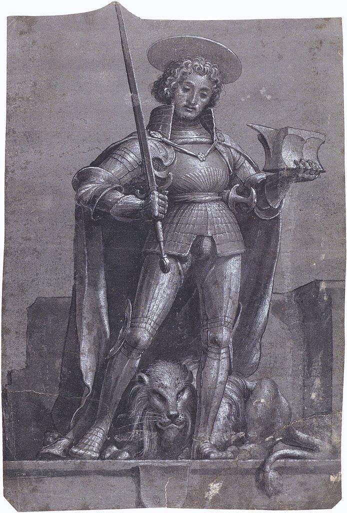 St Adrian, chiaroscuro drawing. c.1520-22