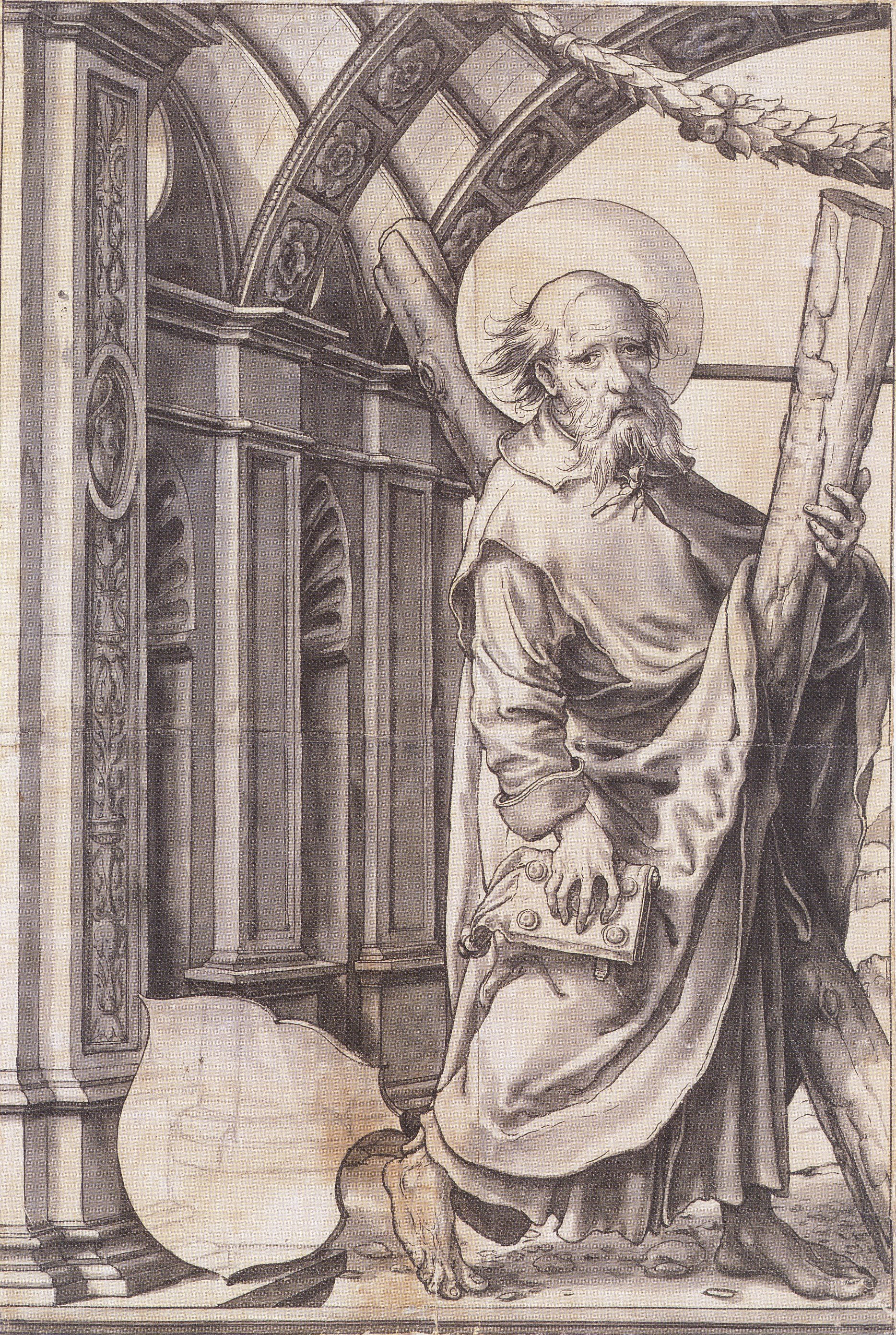 St Andrew, design for a stained glass window. c.1519-21