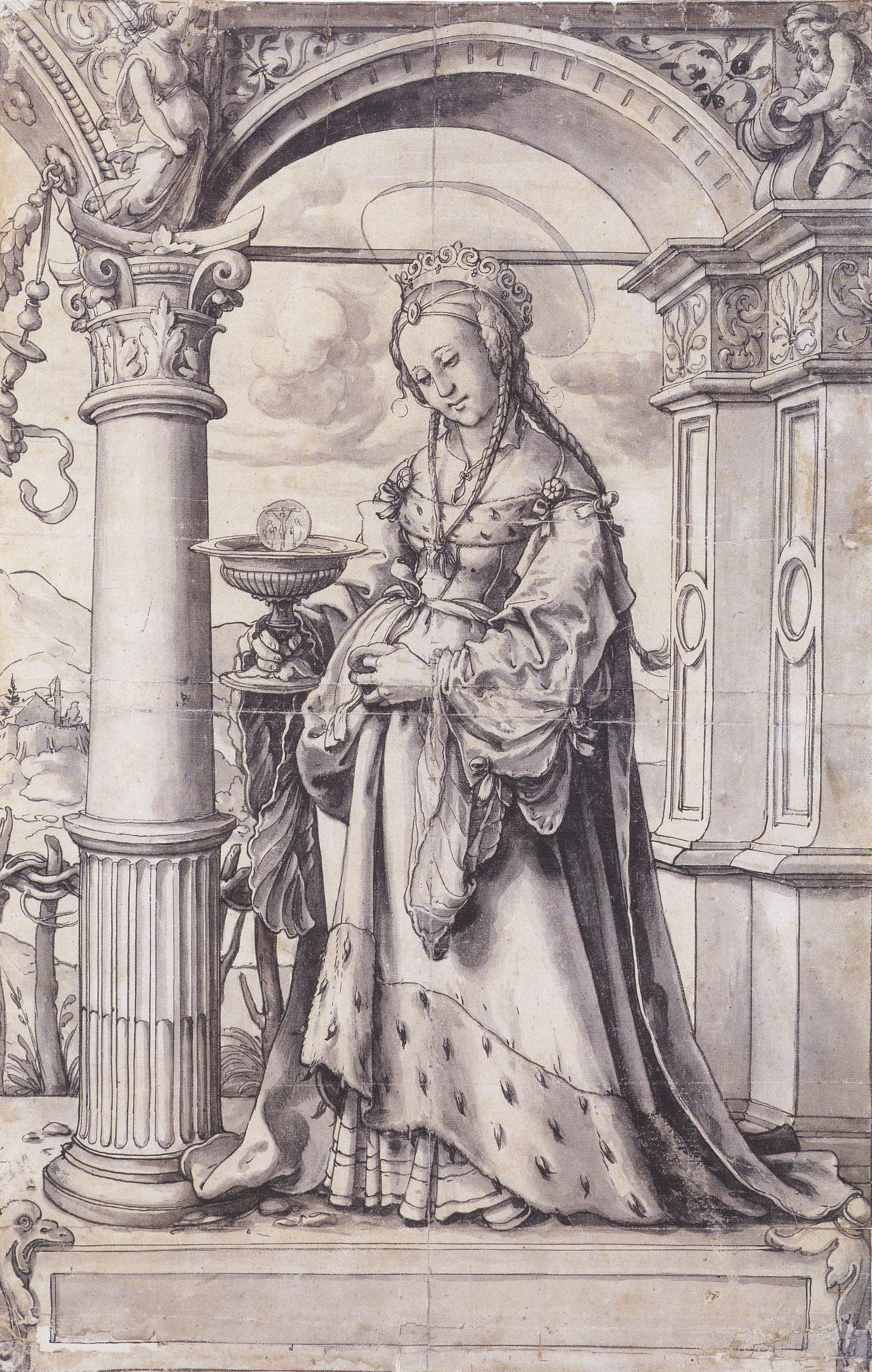St Barbara, design for a stained glass window. c.1519-21