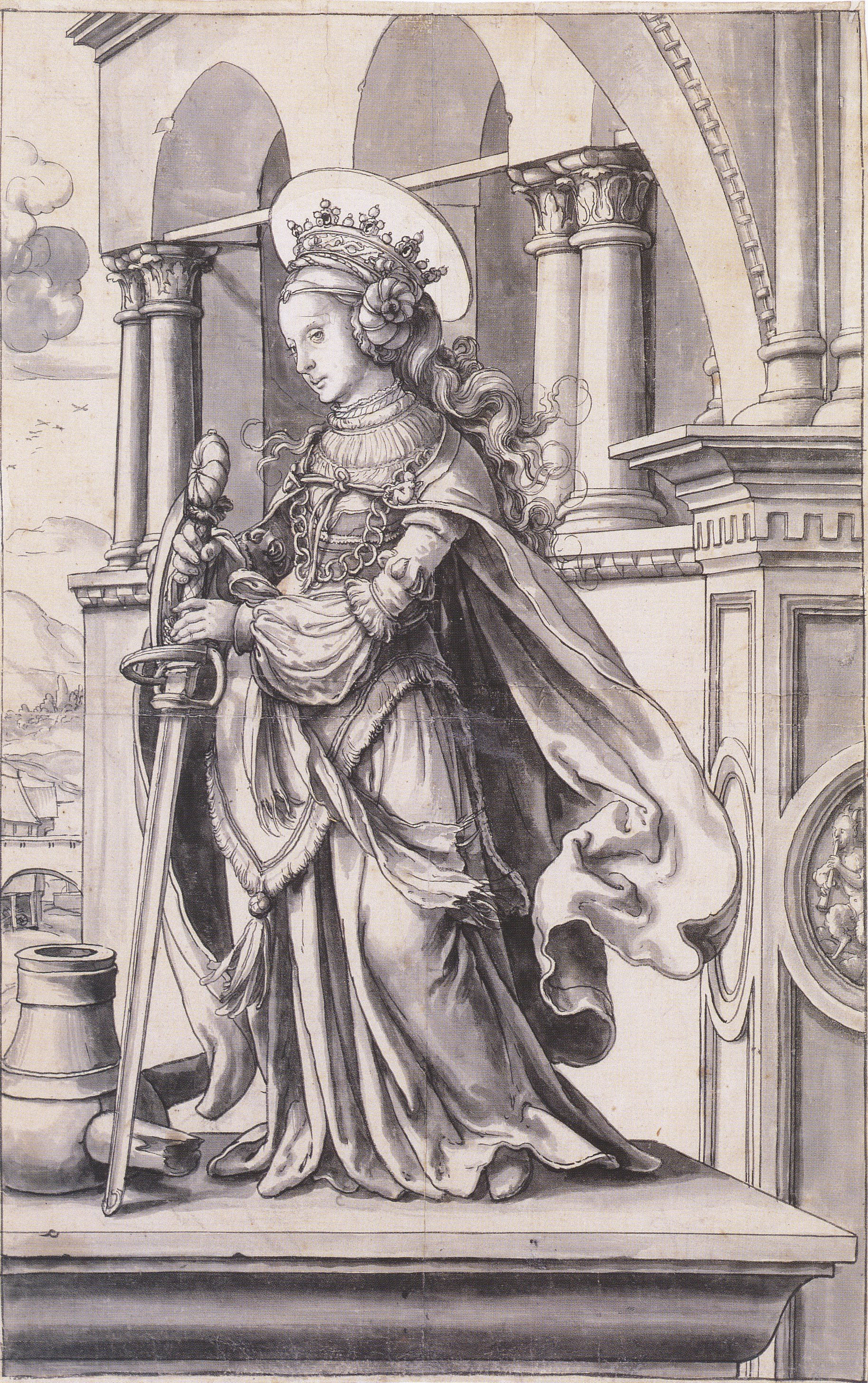 St catherine of Alexandria, design for a stained glass window. c.1519-21