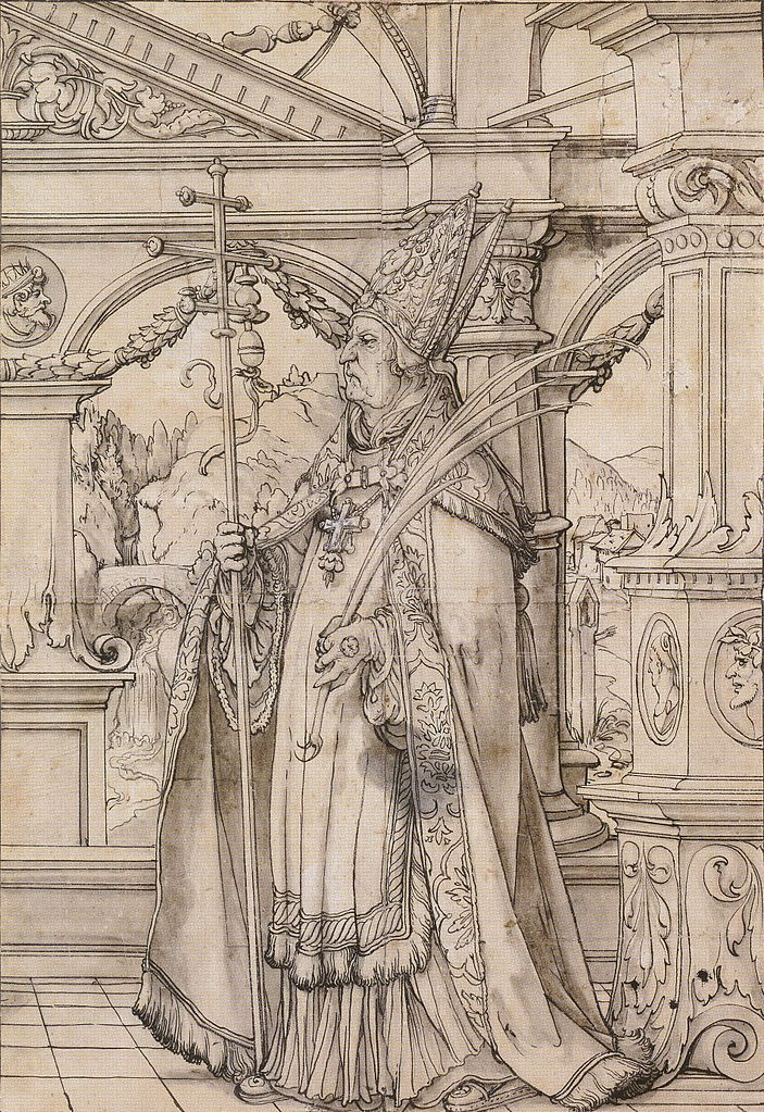 St Pantalus under a Renaissance Portico, design for a stained glass window. c.1519-21