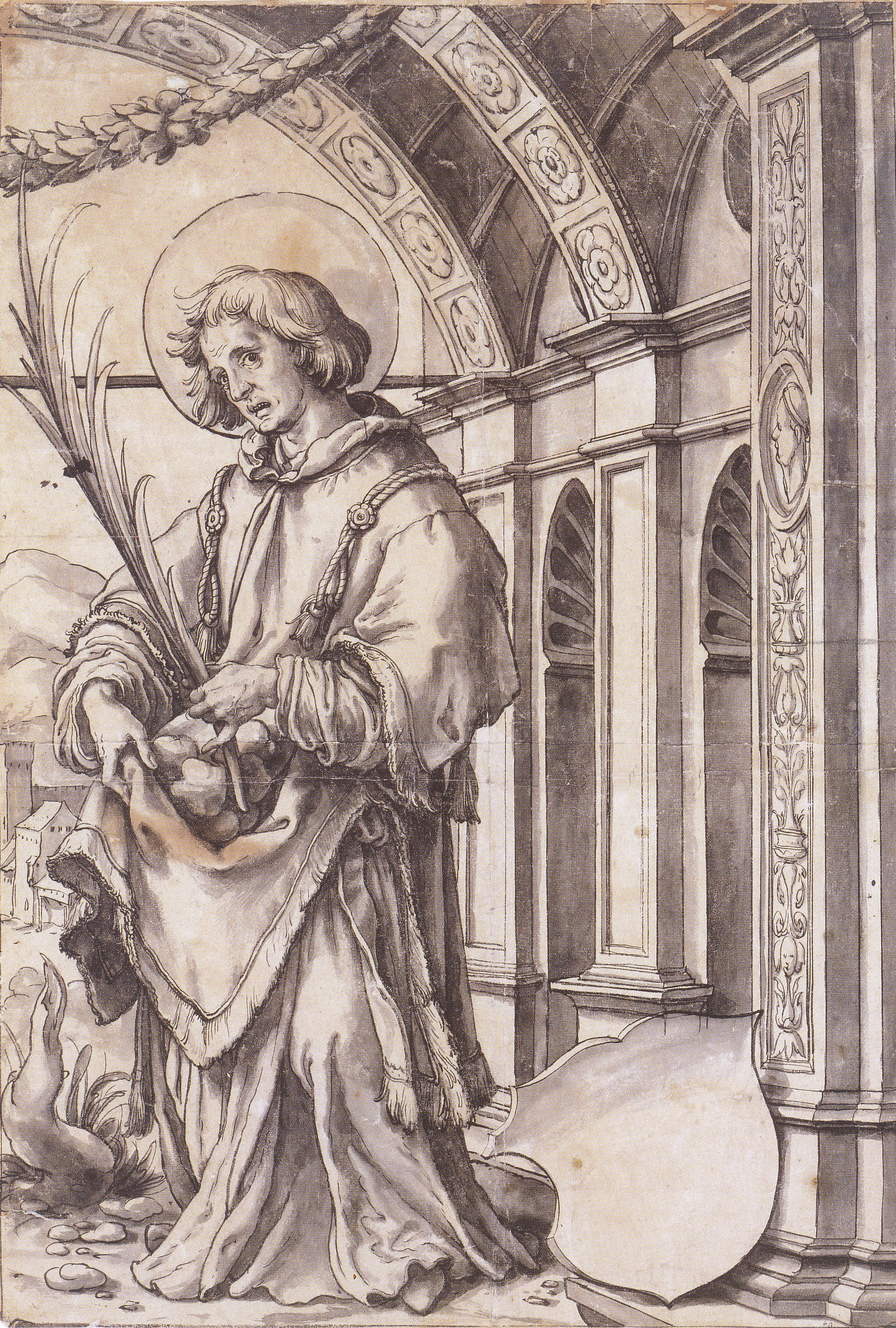 St Stephen, design for a stained glass window. c.1519-21