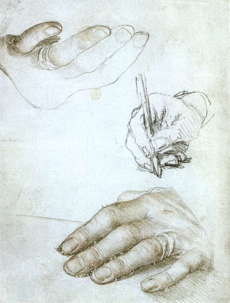 Studies of the Hands of Erasmus of Rotterdam. около 1523