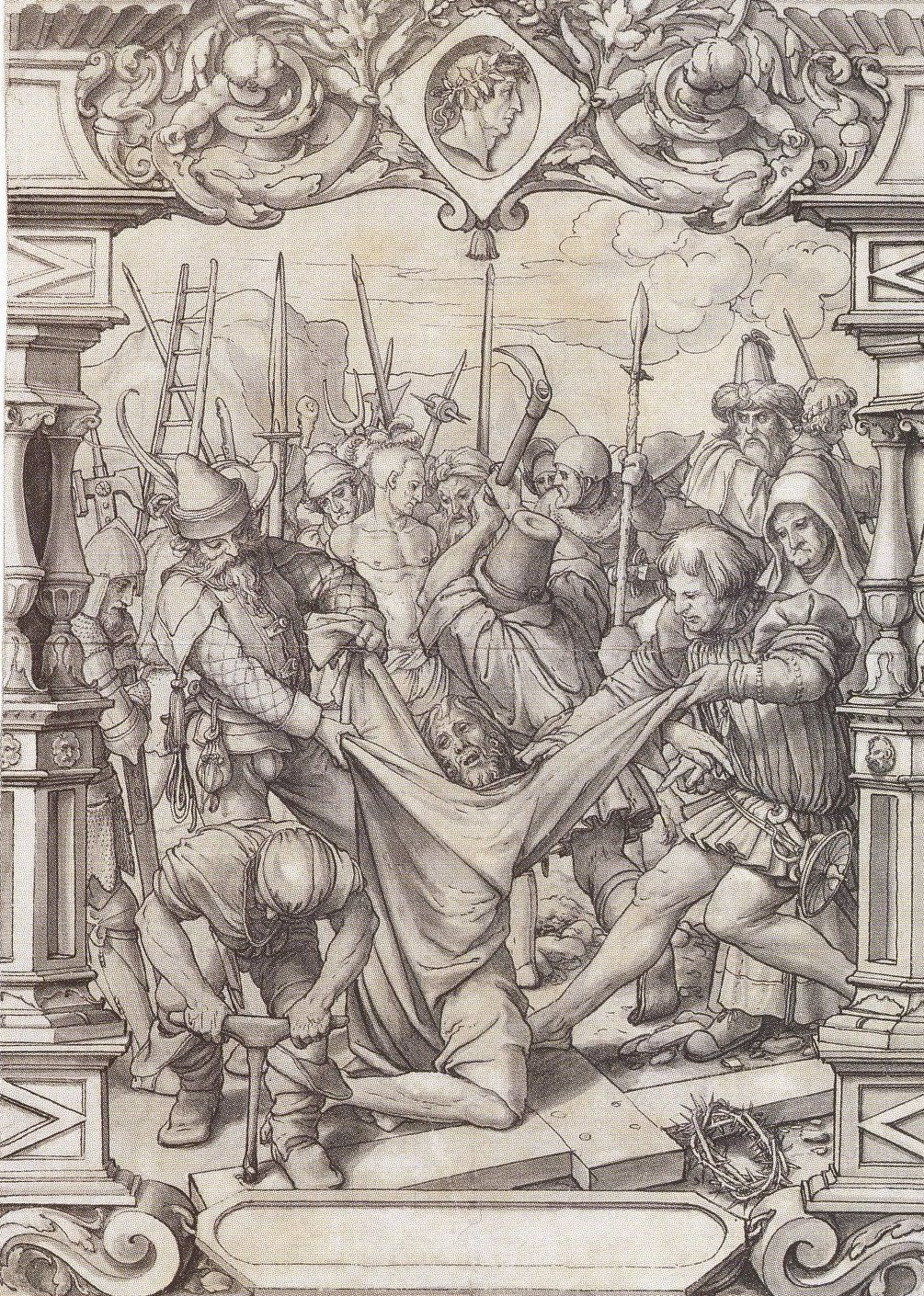 The Disrobing of Christ. Design for stained glass window. c.1525-1528