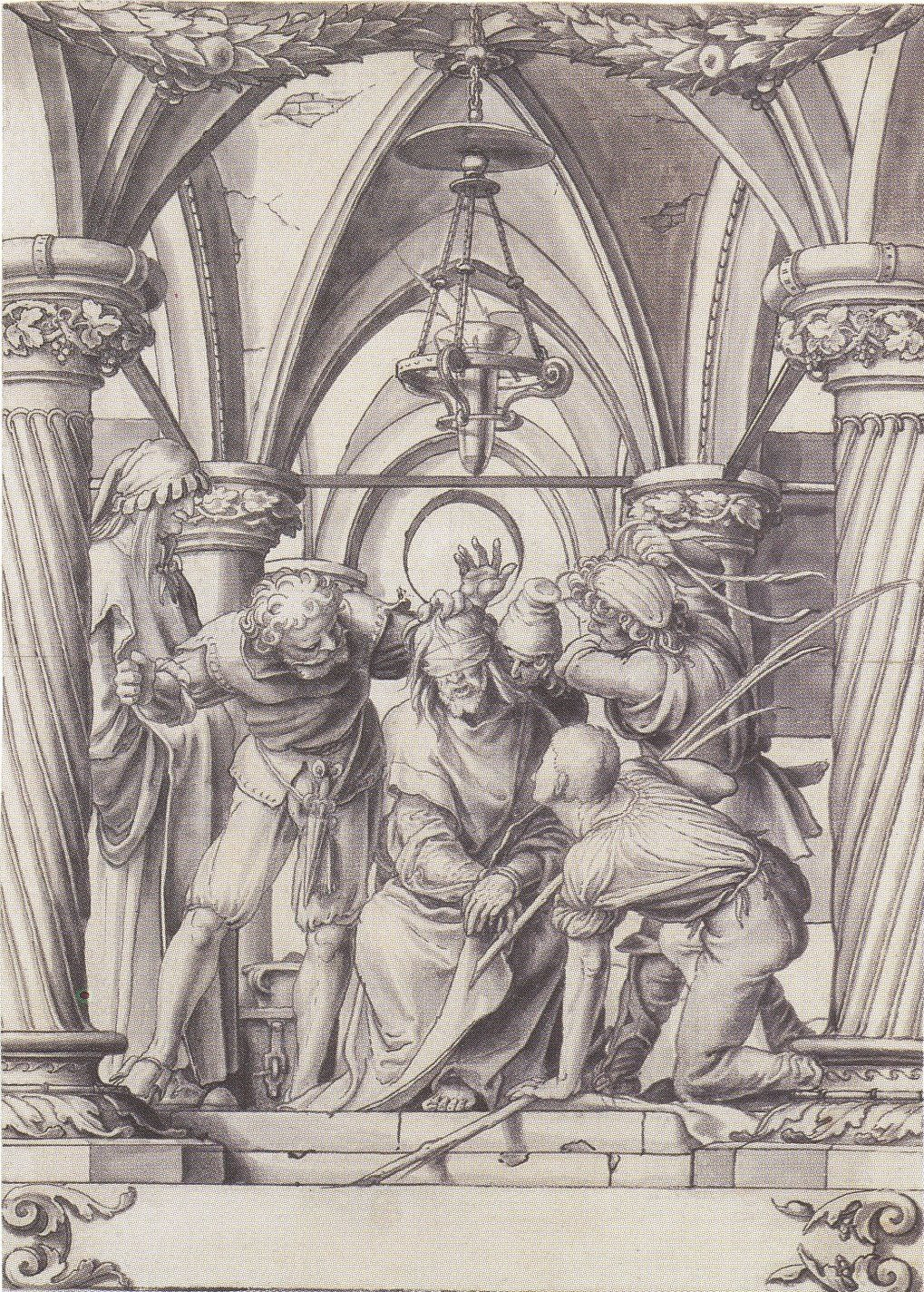The Mocking of Christ, design for a stained glass window. с.1528