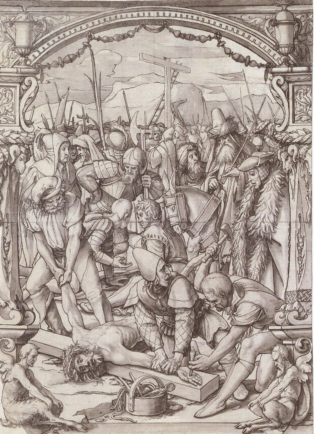 The Nailing of Christ to the Cross. Design for stained glass window. c.1525-1528