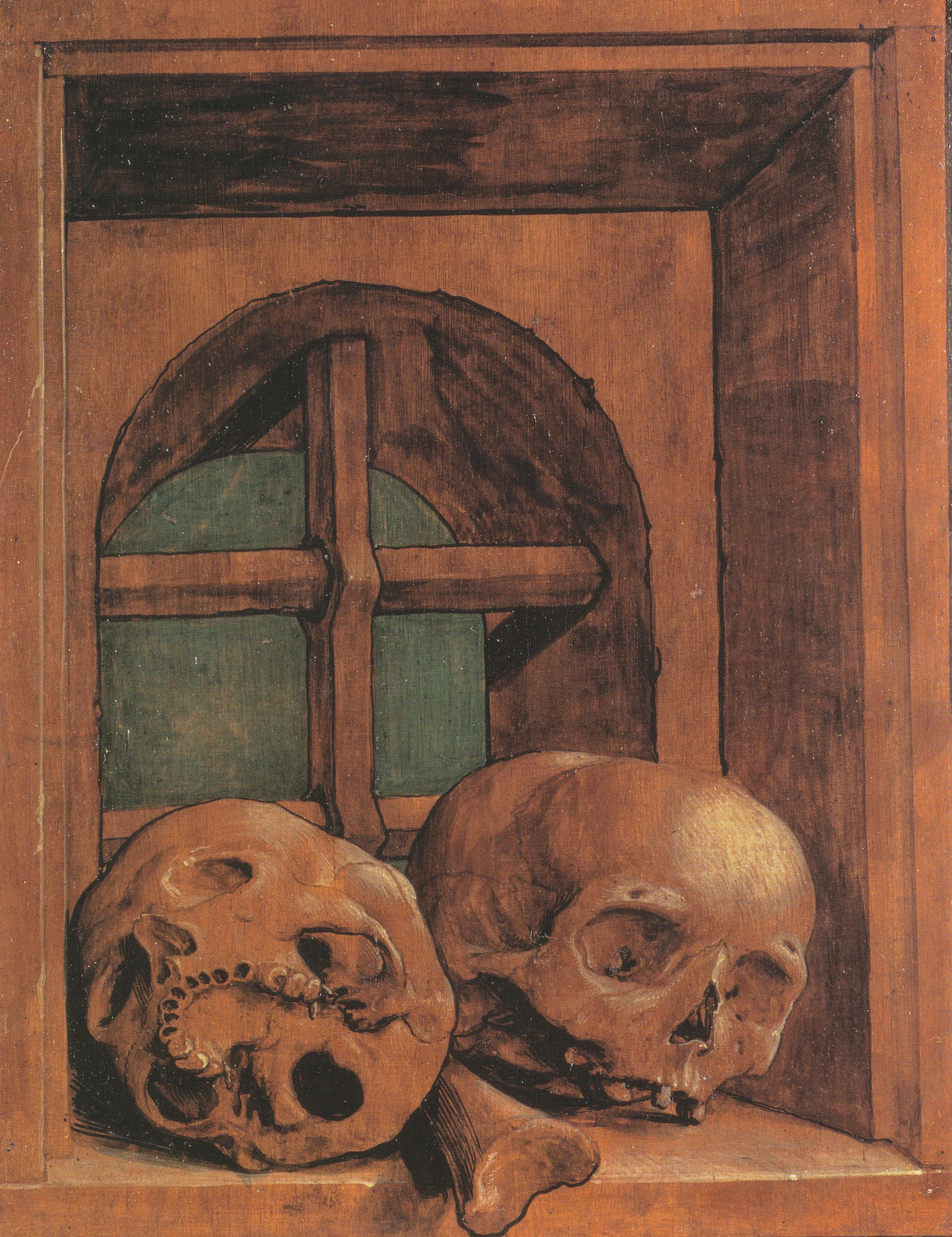 Two Skulls in a Window Niche. c.1520