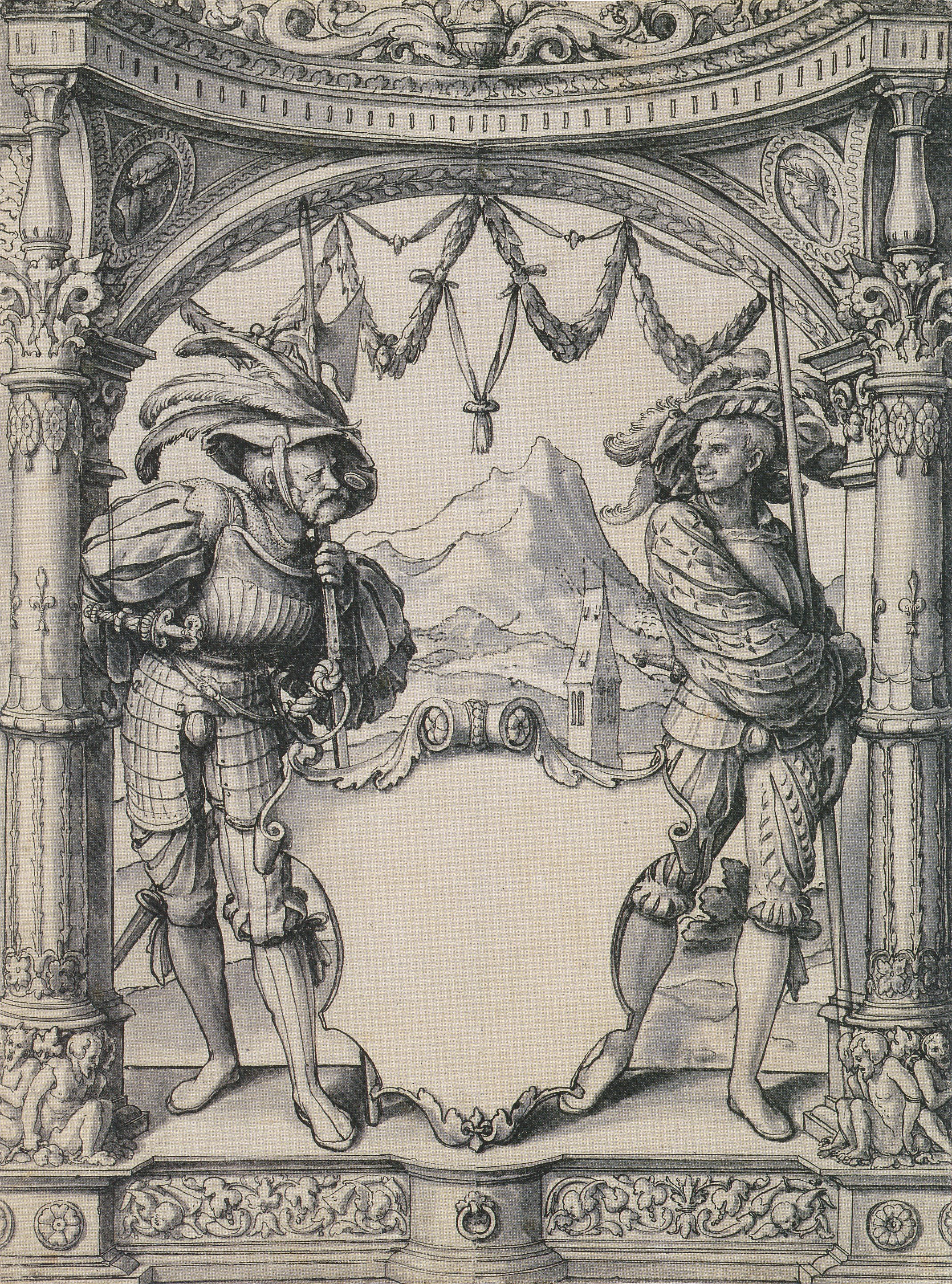 Two Swiss Mercenaries, design for a Stained Glass Window, workshop of Hans Holbein the Younger. c.1525