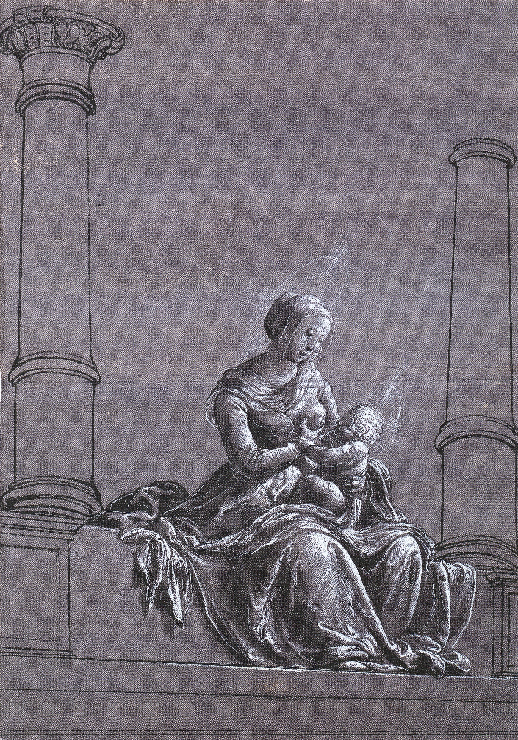 Virgin and Child Between Columns, chiaroscuro drawing. c.1520