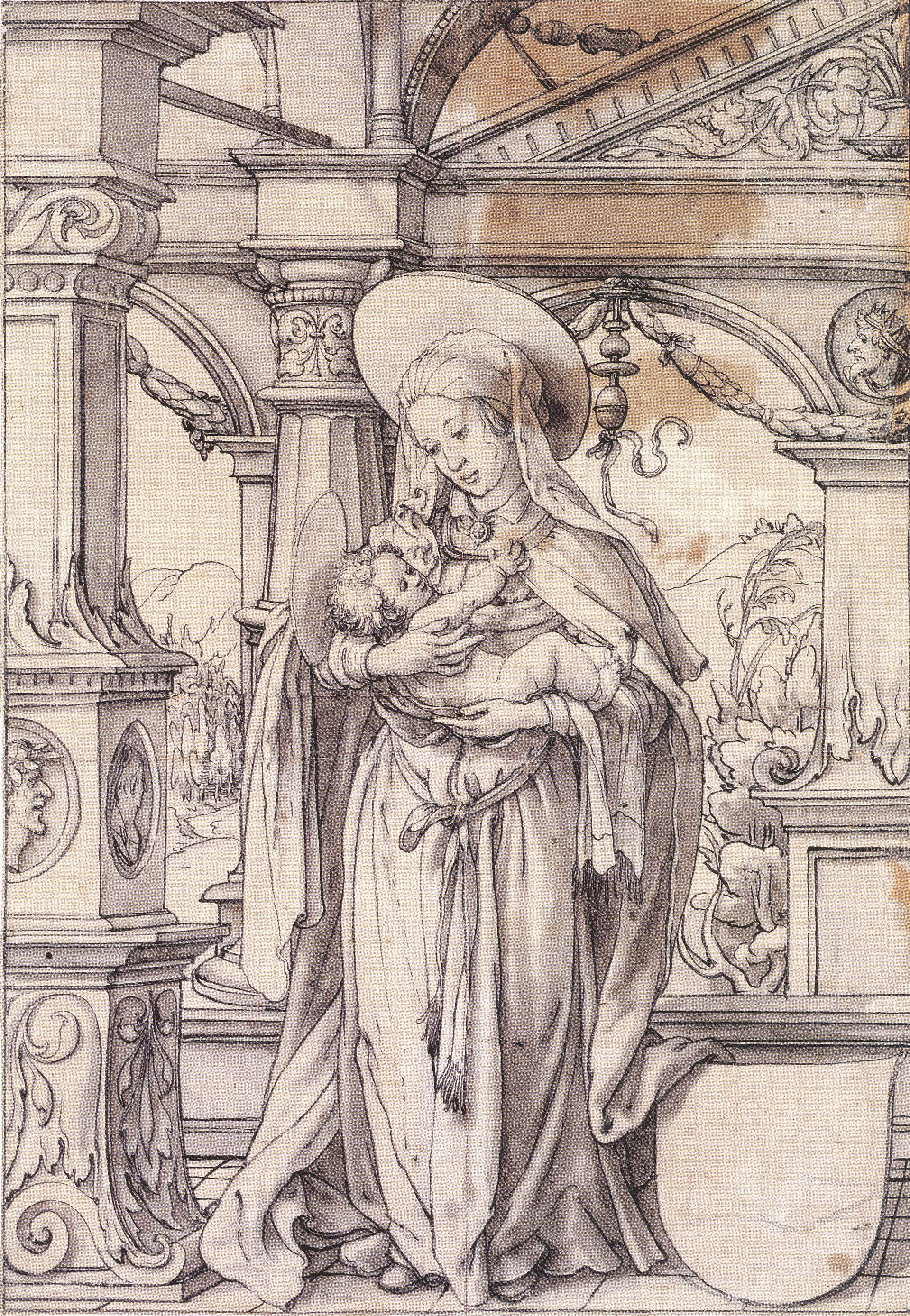 Virgin and Child under a Renaissance Portico, design for a stained glass window. c.1519-21