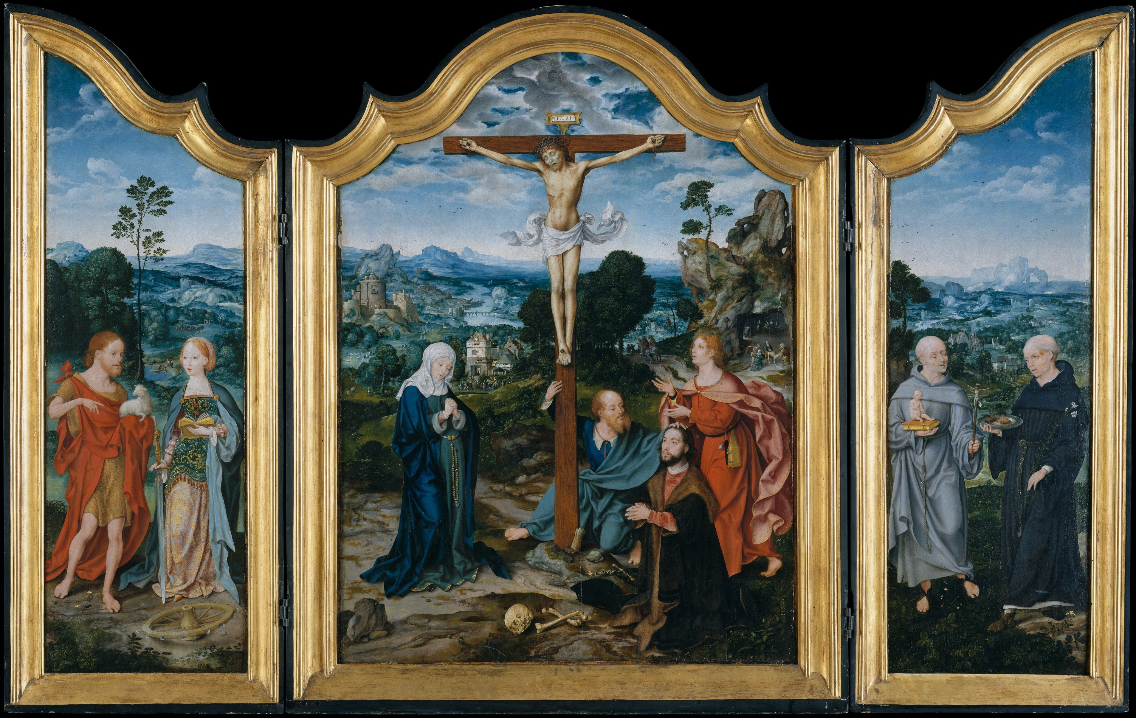 Triptych of the Crucifixion and saints and donators (about 1520) (central panel 98.4 x 74.3, side panels 101 x 32.7) (New York, Metropolitan)