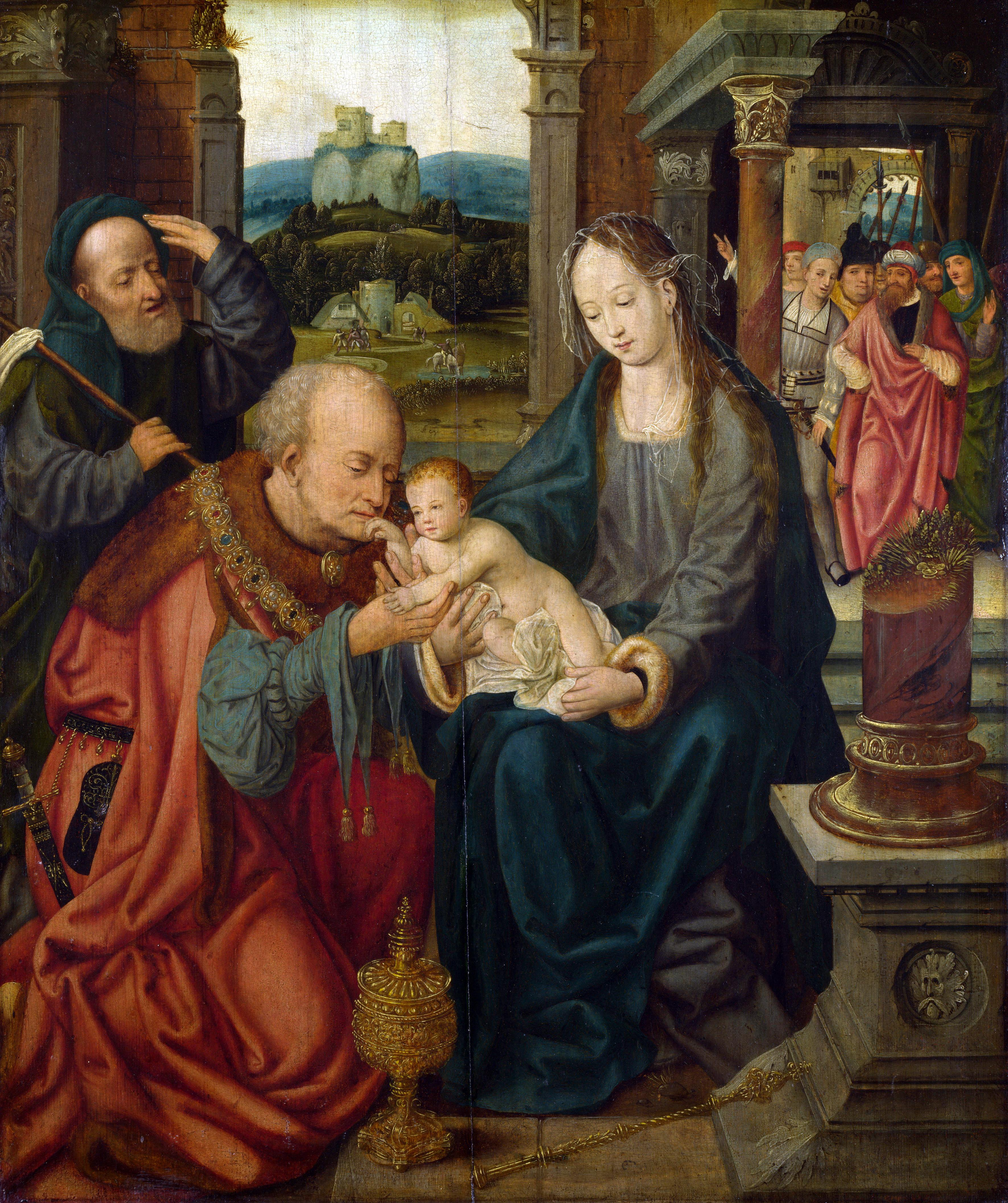 Follower Joos van Cleve. Adoration of the Kings (Capability, 1525-1550) (London, Nat. Gallery)