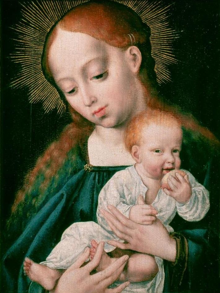 Workshop Joos van Cleve. Madonna and Child (1525-1530) (22.5 × 18) (Krakow, Muzeum Czartoryskich)
