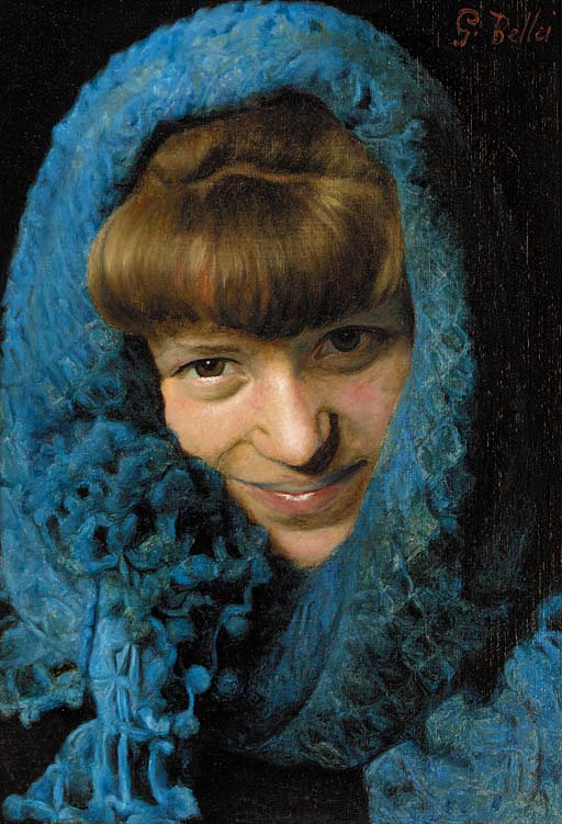 A young girl in a blue scarf
