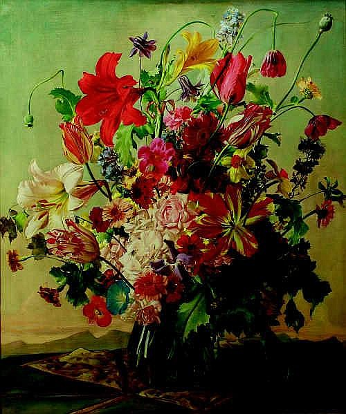 Still Life of Assorted Flowers in a Glass Vase
