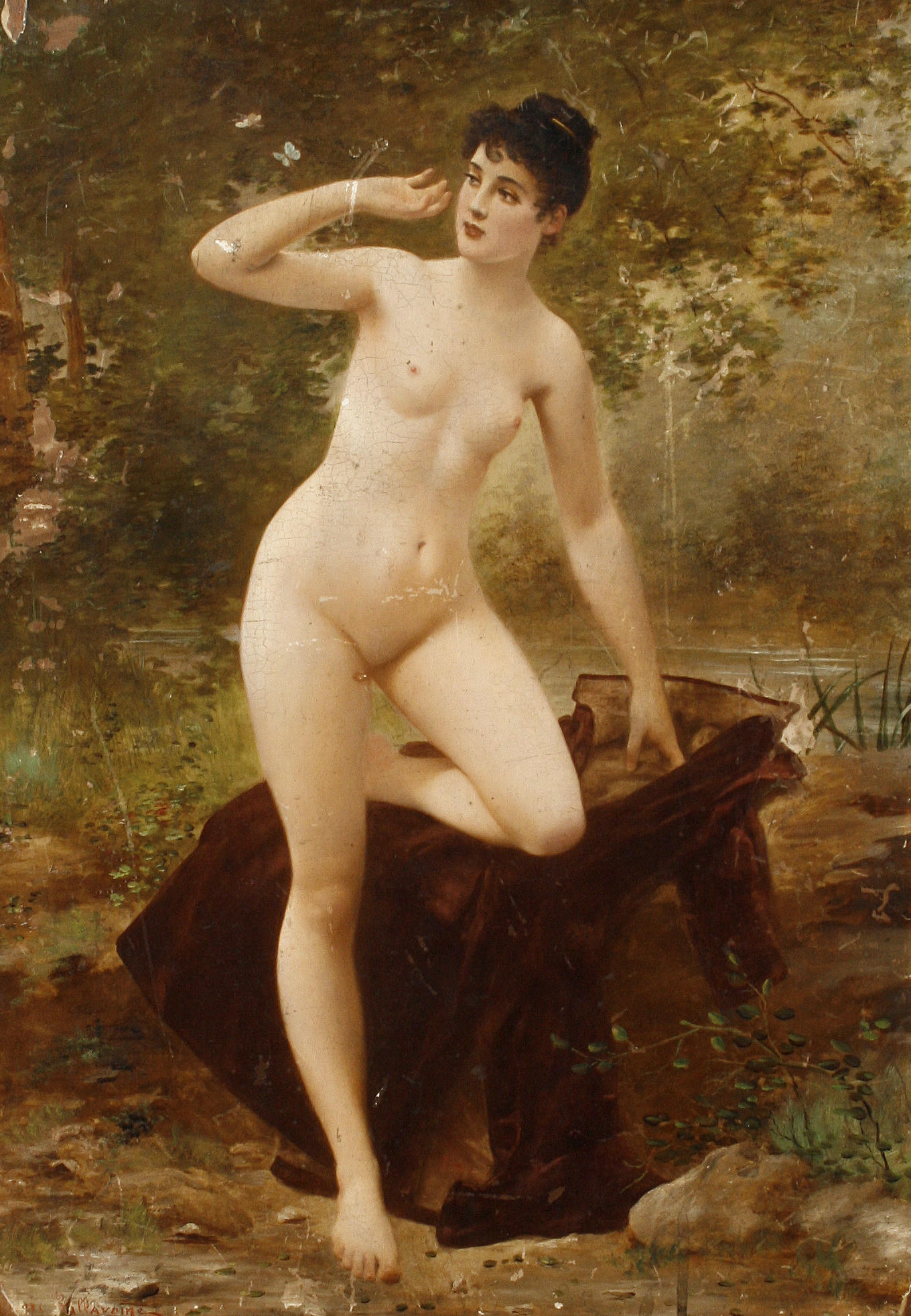 Nude by a river
