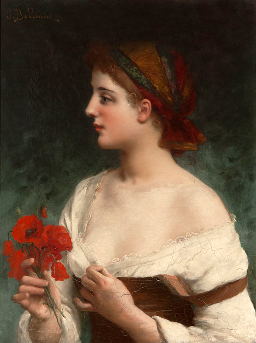 Portrait of a Young Woman in Profile Holding Poppies