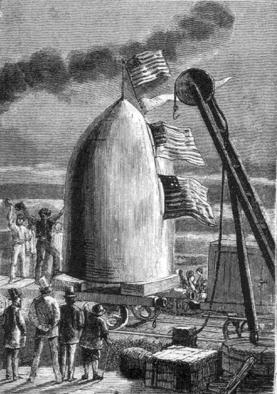Иллюстрация к книге Жюля Верна «С Земли на Луну», описывающей полёт американцев на Луну.