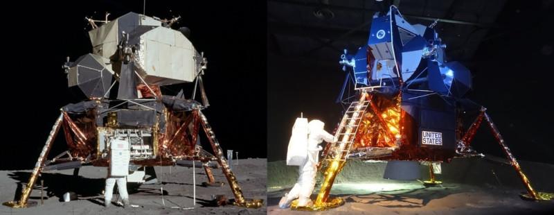Слева упавший на Луну модуль, справа поставленный в музее краном