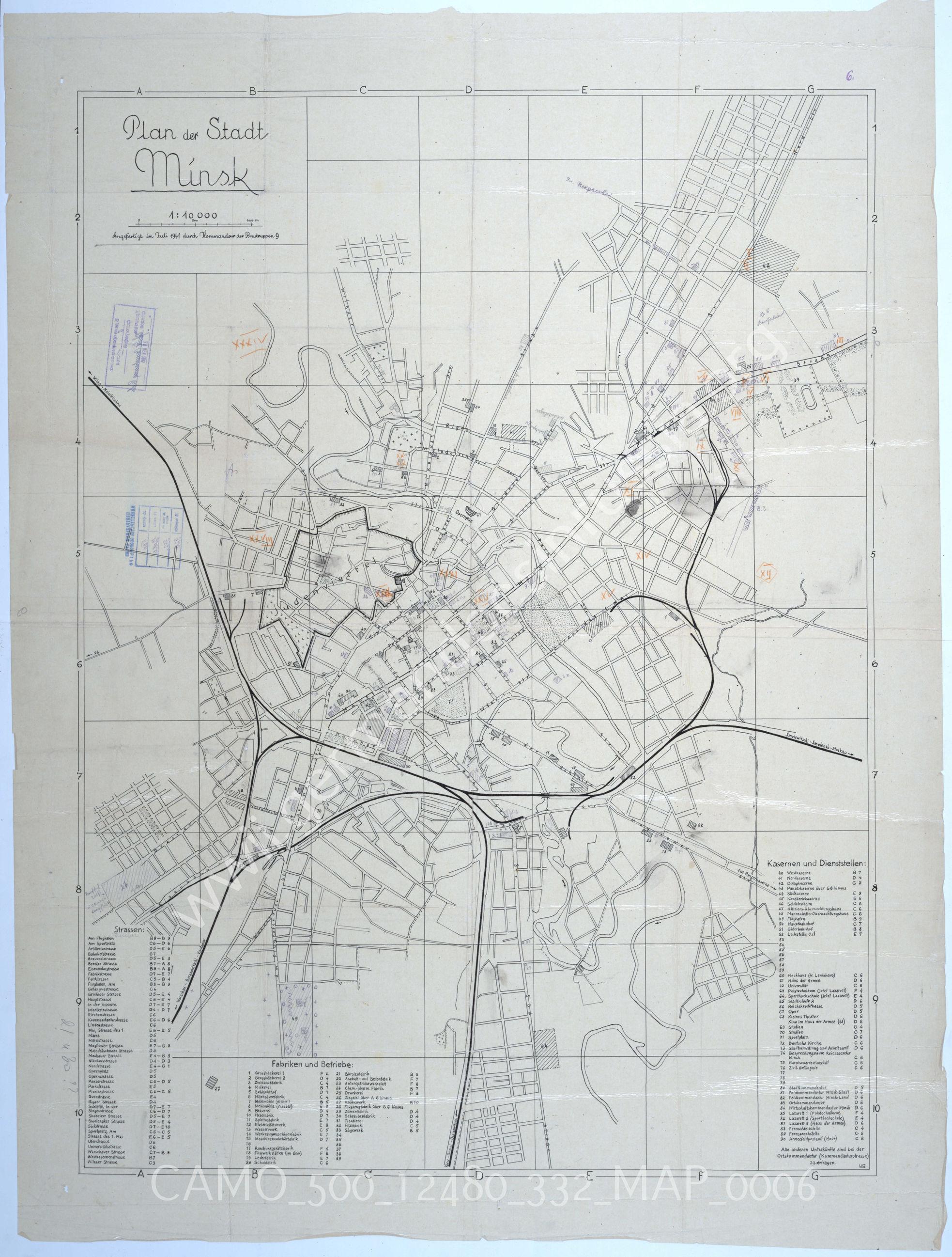 Plan der stadt Minsk (План города Минска)