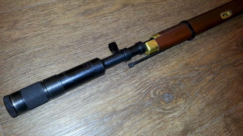 Брамит - прибор бесшумной стрельбы (глушитель) установленный на винтовку Мосина