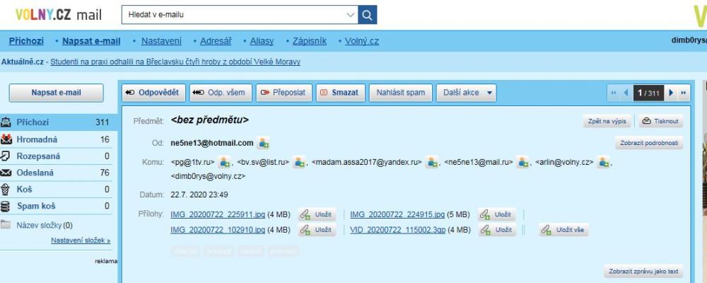 """Невероятно, но факт: скриншот Эл. Почты отправителя показывает на какие адреса были отправлены 4 файла с изображениями без последующего оповещения о том, что возникли проблемы с доставкой на тот или иной адрес. А вот получатель с адресом """"arlin@volny.cz"""" эти файлы не получает ни в этот же день, ни на следующий. Но это только начало """"чудес"""". Дальше - больше: попытка отправить те же файлы плюс скриншот отправителя (см. выше) уже с адреса все того же """"arlin@volny.cz"""" удалась только с пятого раза и без пояснительноготекста в сообщении"""