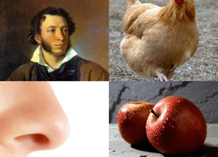 пушкин курица яблоко нос