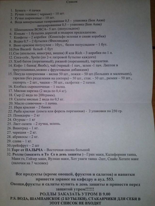 список требования