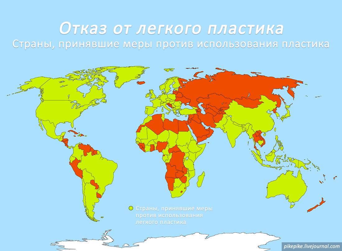 Страны, принявшие меры против использования легкого пластика