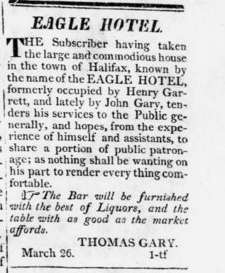 Eagle Hotel Tarboro Free Press 03-26-1824