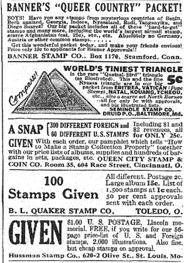 Misc  Classified ads from 1931 issues of Boys Life magazine
