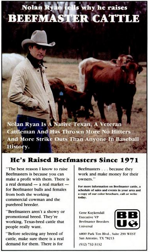 Beefmaster Cattle Nolan Ryan TM Mar 85