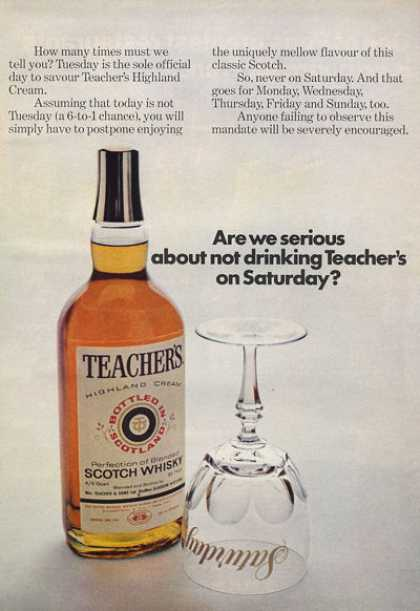 teacher's whisky 1970