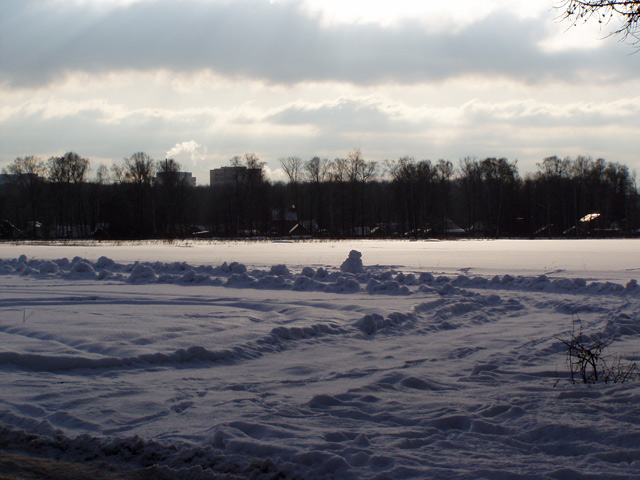 А этот снежный пейзаж мы увидели слева от дороги, выходя из Виноградово в сторону Долгопрудного