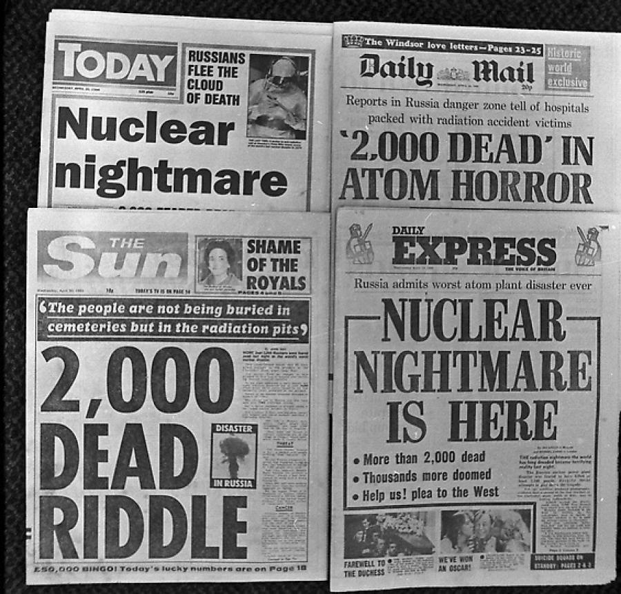 газетные заголовки о чернобыльской катастрофе