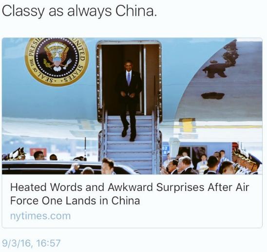 оскорбительный твит в адрес Китая