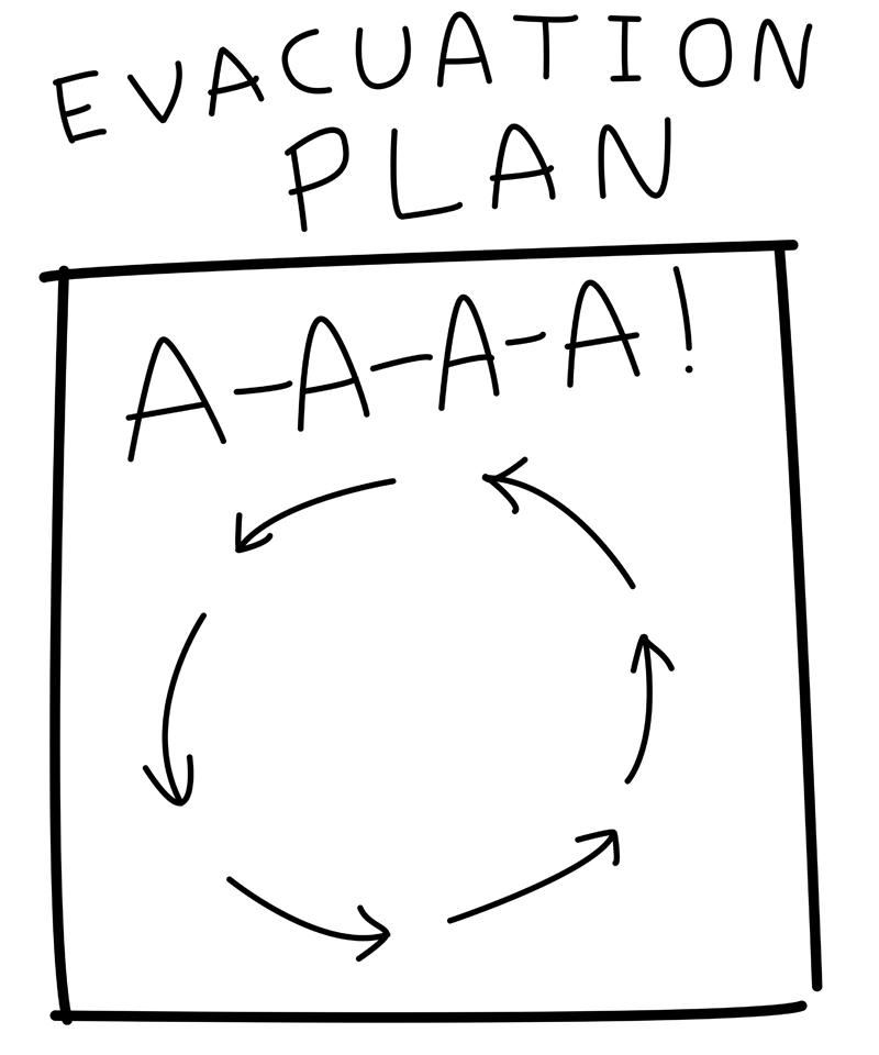 картинка смешная картинка план эвакуации при пожаре пудра