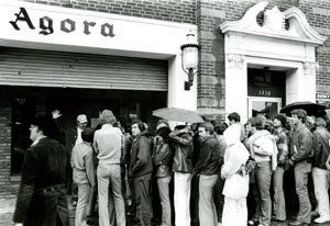 Fans waiting to enter Bruce Springsteen's Agora concert, 1978